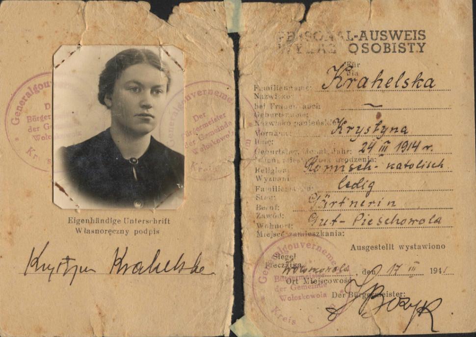 Dowód osobisty Krystyny Krahelskiej