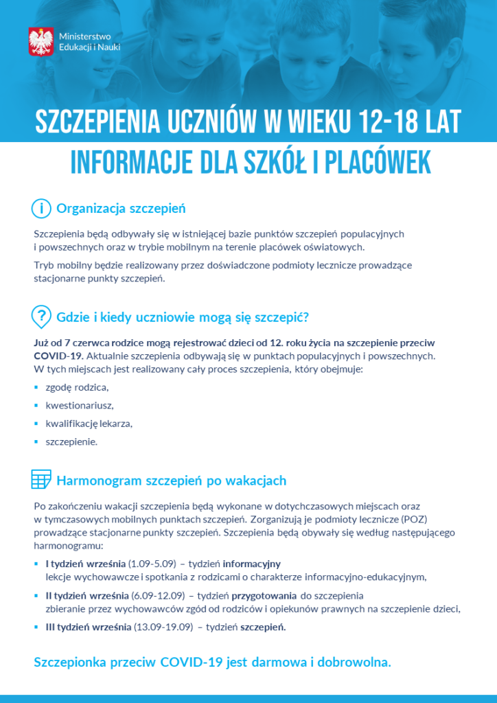 Plakat ministerstwa edukacji o organizacji szczepień przeciw Covid